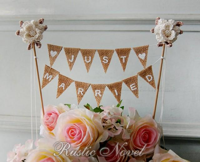 just married bunting wedding cake topper wedding cake topper rustic burlap cake bunting ivory 16614