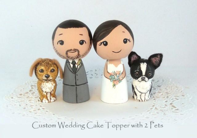 kokeshi doll wedding cake toppers custom wedding cake toppers 2 pets groom cat 16655