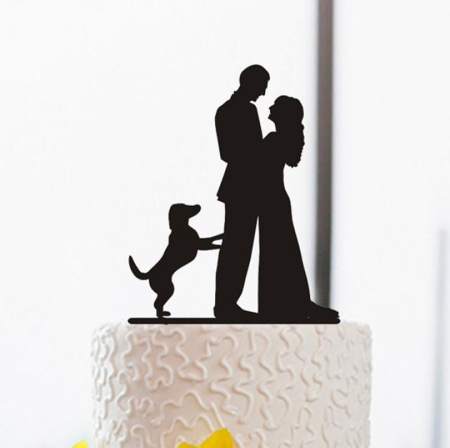 wedding cake topper silhouette with dogs wedding cake topper silhouette cake topper with 26501