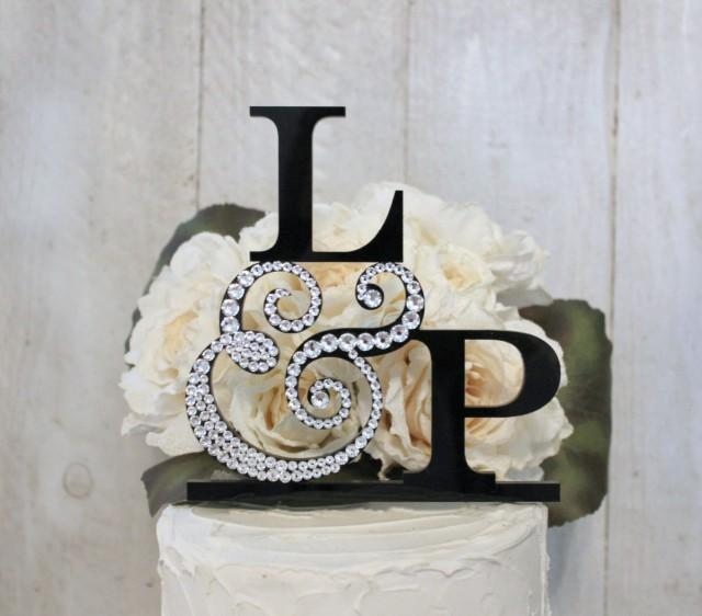 wedding cake topper monogram initials wedding cake topper with 2 initials 2 letter monogram cake 26358