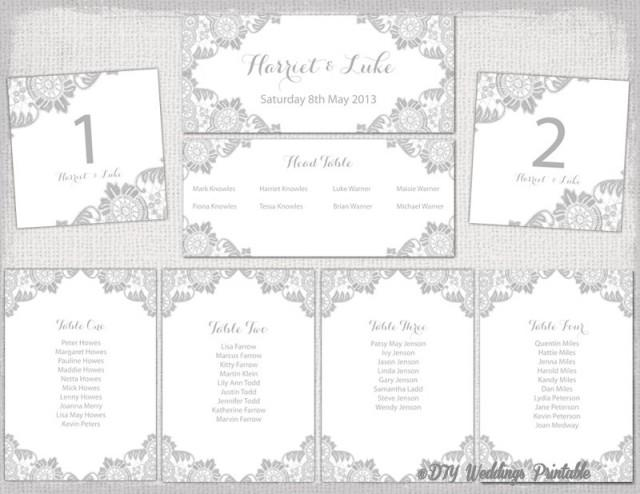Wedding Seating Chart Template Silver Gray Antique Lace Printable Table Plan Cards