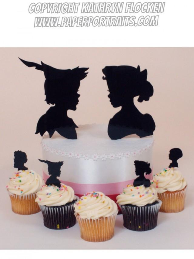 peter pan and wendy wedding cake topper wedding cake topper pan and wendy silhouettes 18306