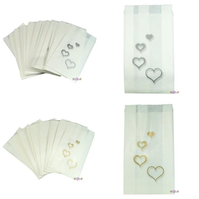cake bags wedding 50 x wedding cake bags silver or gold hearts decoration 2175
