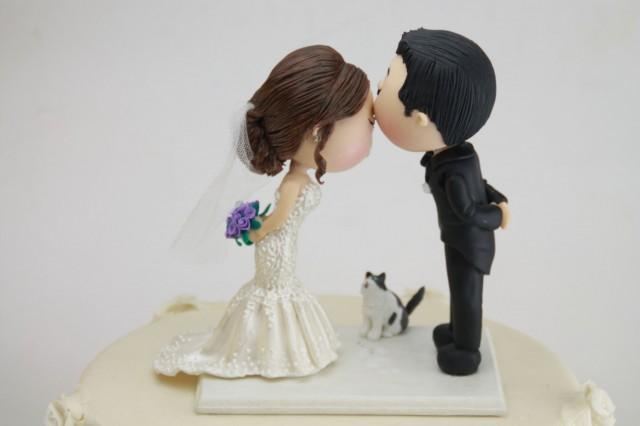 cat bride and groom wedding cake topper with pet cat wedding cake topper 12452