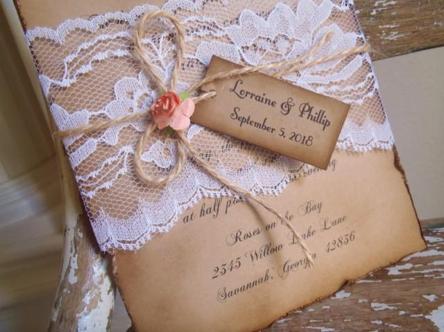 vintage lace wedding invitations coral rustic lace kraft vintage woodland kraft 8288