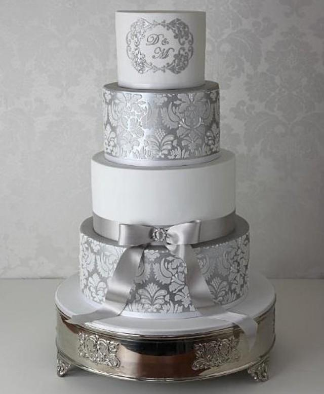 wedding cakes with silver 2 damask cake stencils for wedding cakes plantillas para 26115