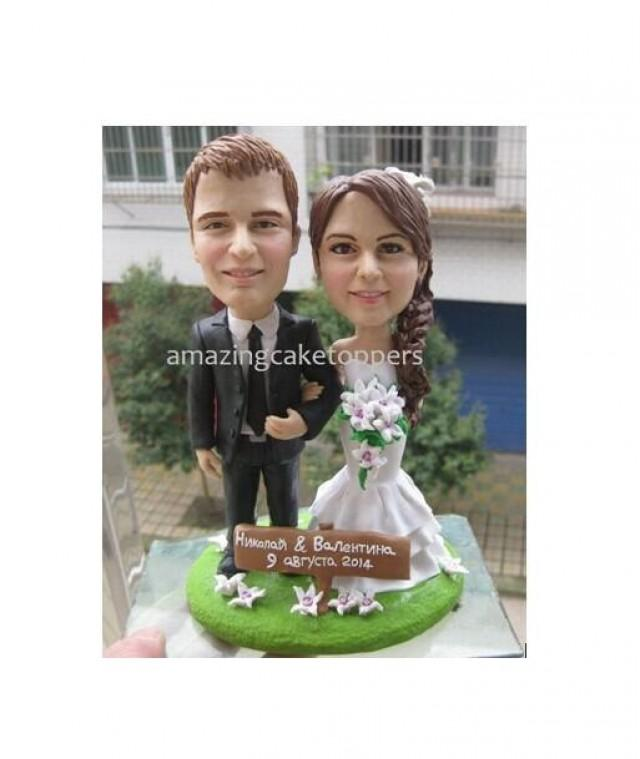 personalized wedding cake topper with dog sculpted custom wedding cake topper figurine pet 18289