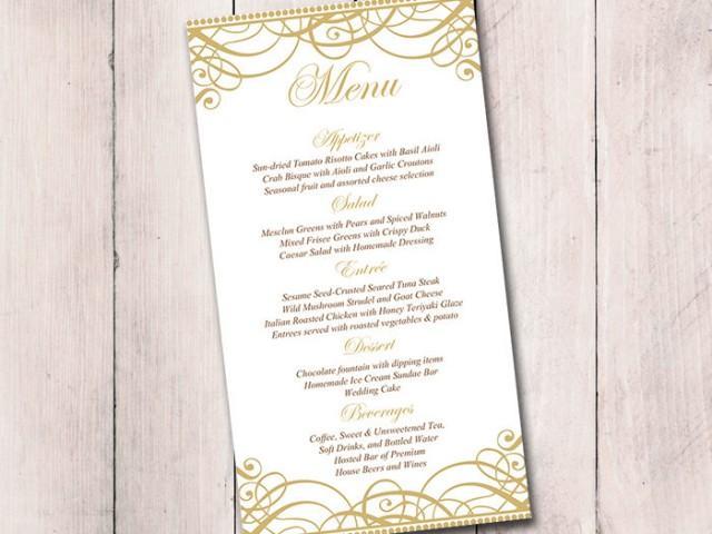 Gold Wedding Menu Card Template Reception Flourish Exquisite Printable Formal 2574478 Weddbook