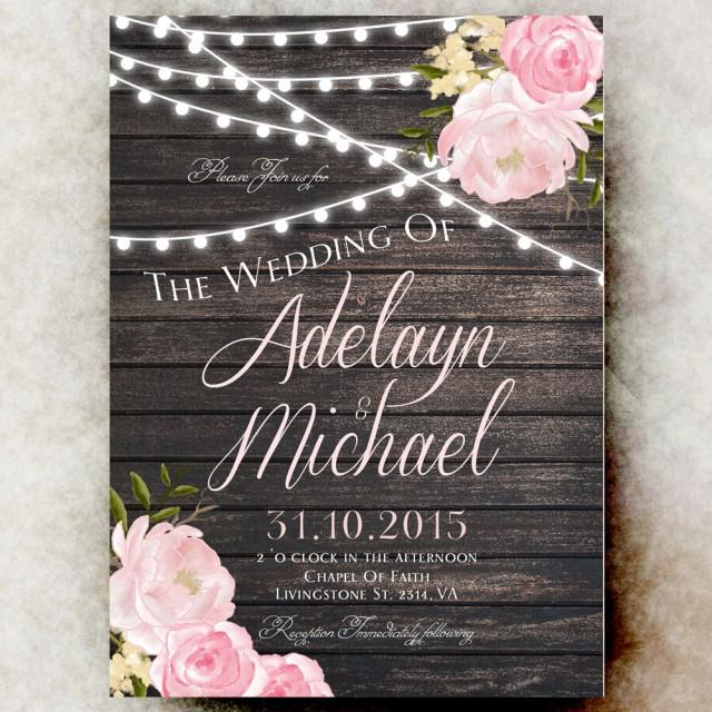 Rustic Wedding Invitation Printable String Lights Barn Country Blush Pink 2582568 Weddbook