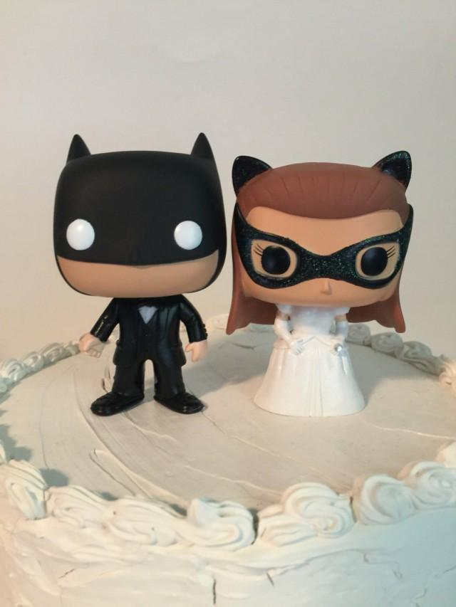 Custom Funko Pop Batman And Catwoman Wedding Cake Toppers