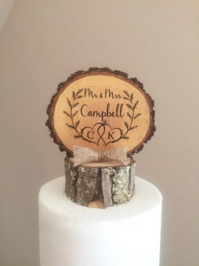 custom wooden wedding cake toppers rustic laurel wedding cake topper wood slice topper mr 13266