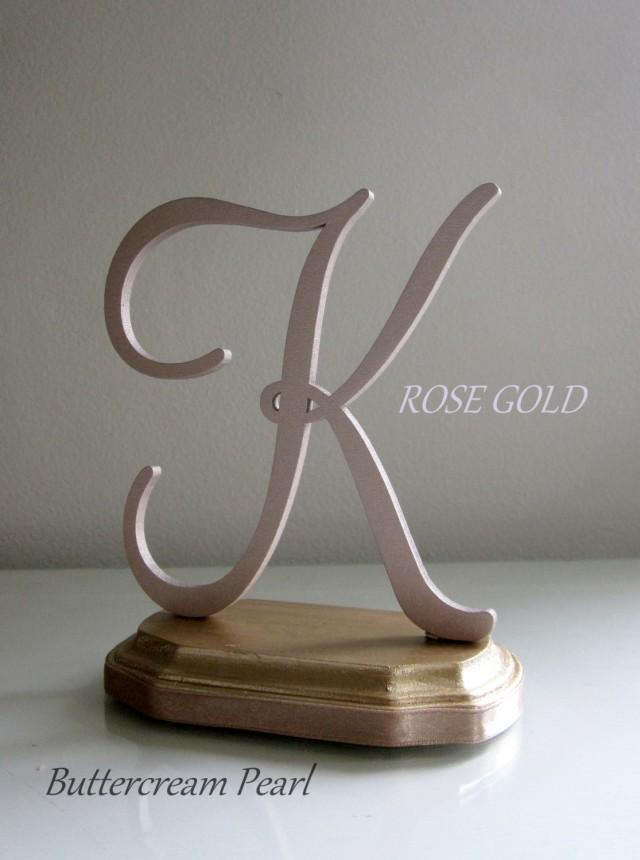 rose gold monogram wedding cake topper gold cake topper any number letter initial or color 19280