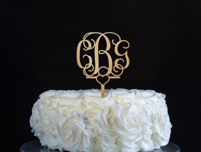 gold wedding cake topper initials monogram cake topper unpainted wooden cake topper 14836