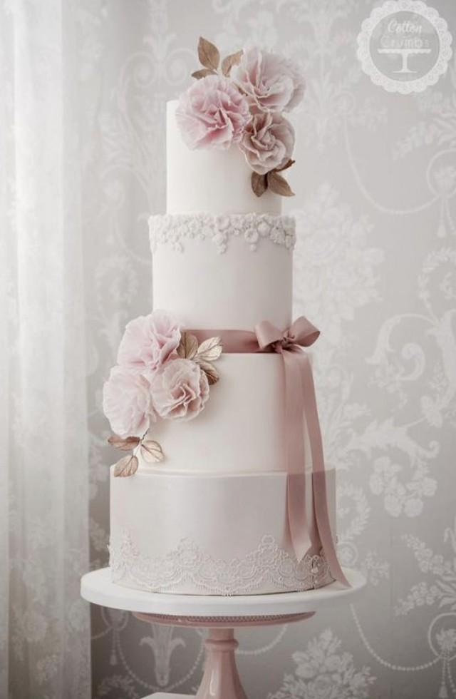 wedding cakes pink and white four tier pink detailed white wedding cake 2692346 weddbook 25285