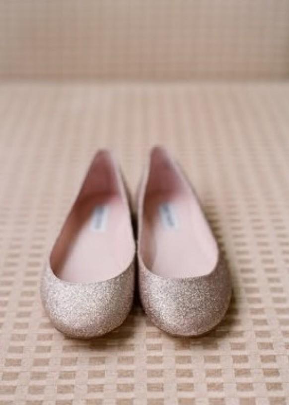 Brand new Silver Sparkly Wedding Flats ♥ Glitter Bridal Flats #796560  JM46