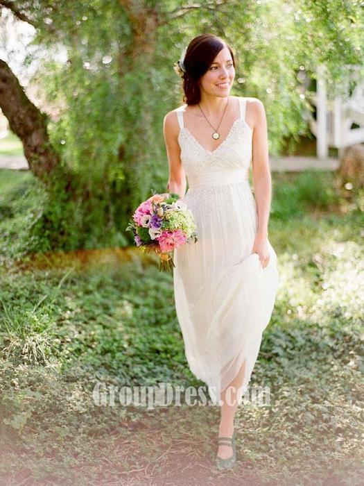 Sleeveless V Neck Simple Summer Wedding Dress