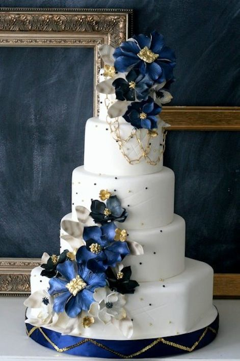 white gold and royal blue wedding cake navy wedding navy blue wedding 1989498 weddbook 27292