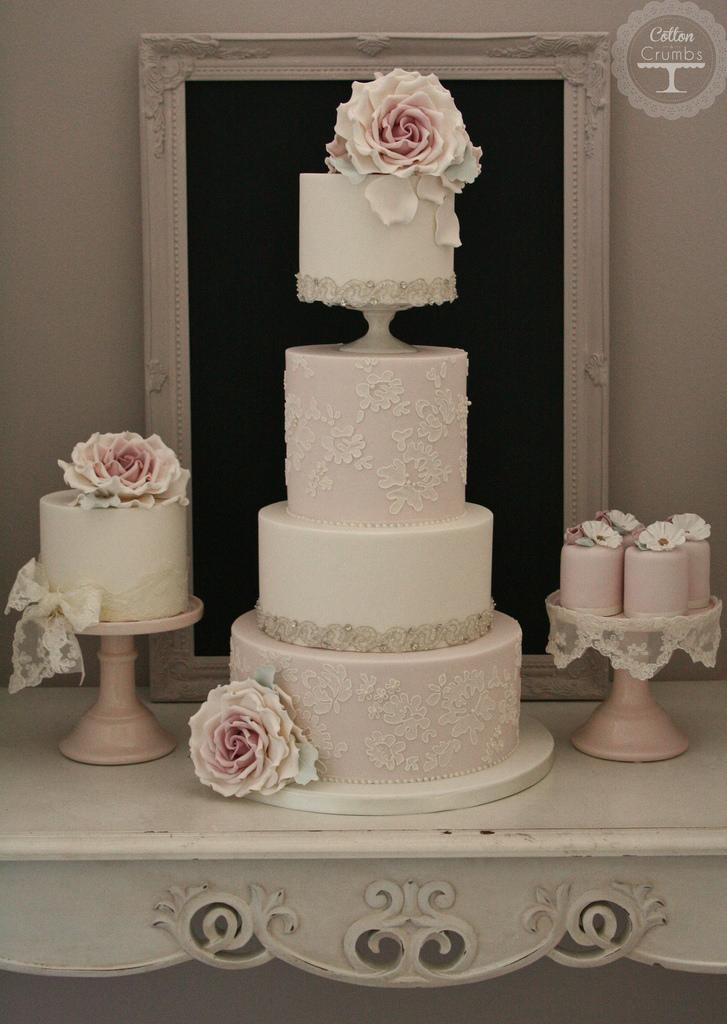 wedding cake with lace and roses wedding and lace wedding cake 2013596 weddbook 26912