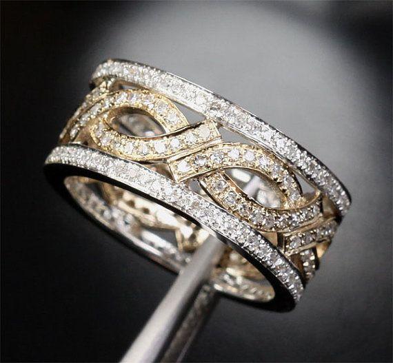 Unique Eternity Band 1 05ct Diamond 14k Two Tone Gold Women Men Wedding Ring