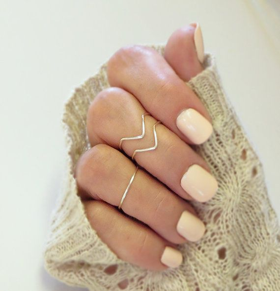 Knuckle Ring Set 3 Handmade 2 Chevron 1 Band Adjustable Midi