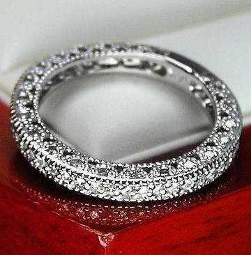 Unique Vintage Genuine Diamond Wedding Band Ring For Women 14k Solid White Gold