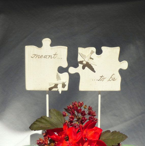 Puzzle Piece Wedding Cake Topper With Love Birds Hand Carved Wood Pieces In Antique White