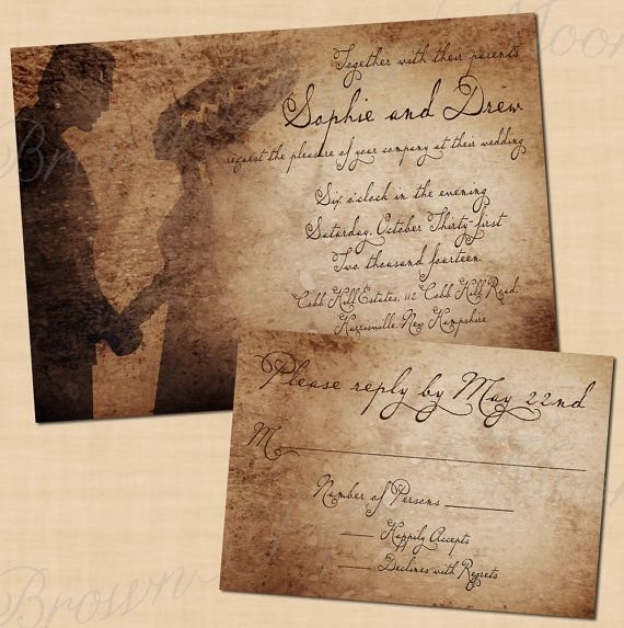 Premium Frankenstein S Antique Printable Wedding Invitation And Rsvp Package