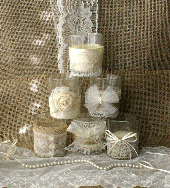 Burlap And Lace Wedding Tea Candles Victorian Centerpiece