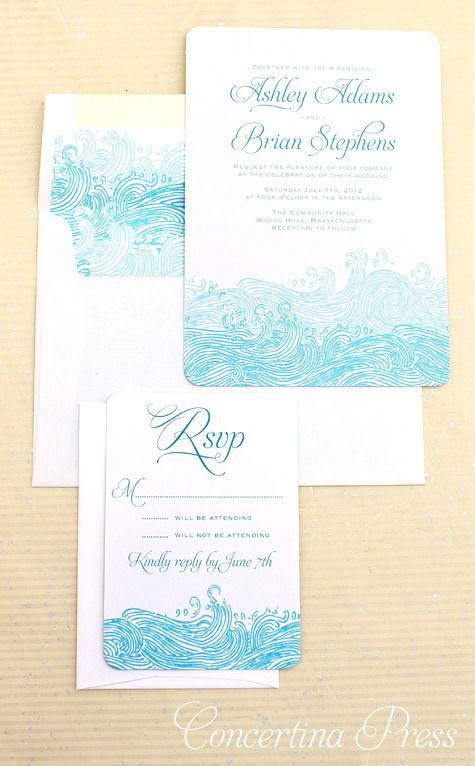 Waves Beach Wedding Invitations