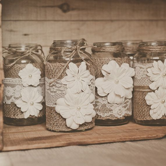 10 Lace And Burlap Wedding Centerpieces Rustic Barn Mason Jar