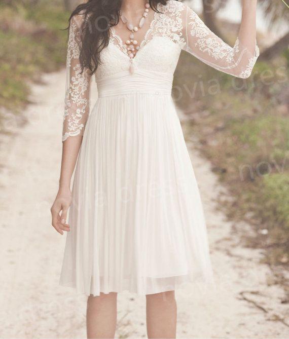 Kurze Hochzeitskleid Strandhochzeitskleid Spitze Chiffon Abendkleid Brautjungfernkleider Partykleid Weisse Kleid 2051655 Weddbook
