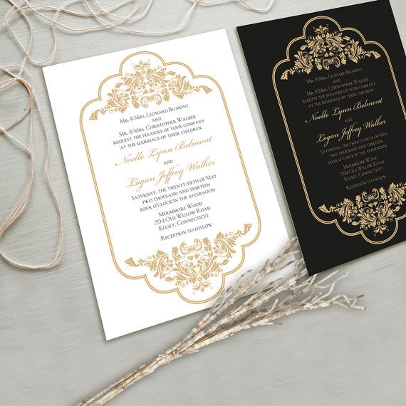 Timeless And Elegant Wedding Invitation Suite White Gold Black Other Color Combinations Possible