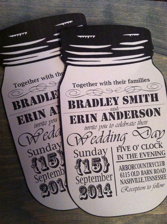 Vintage Style Mason Jar Wedding Invitations