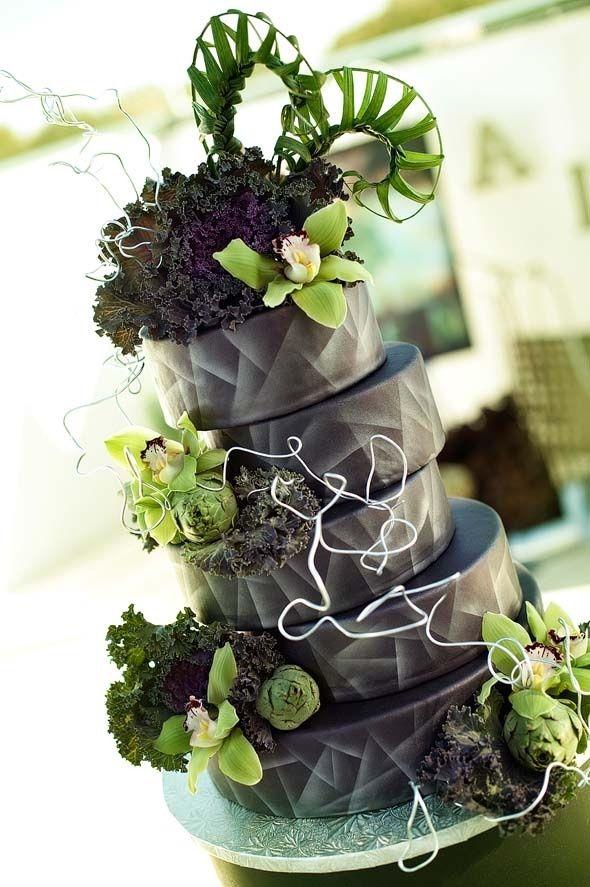 Black And Green Wedding Cake