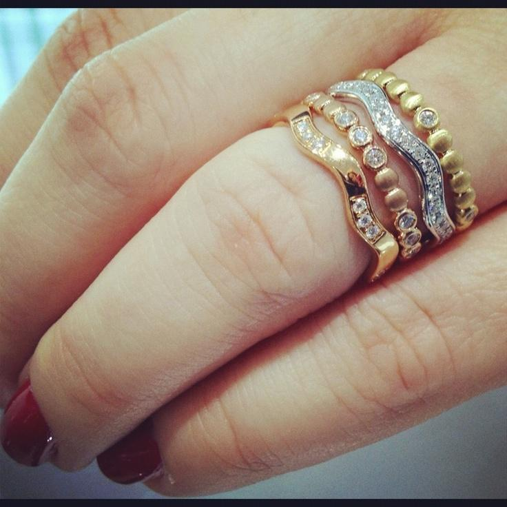 18k Rose Gold Ritani Stack Button Diamond Right Hand Ring