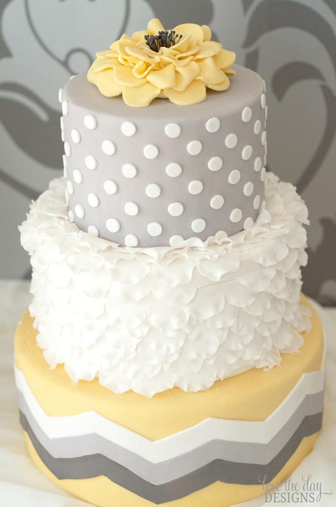 Playful Gray White And Yellow Wedding Cake