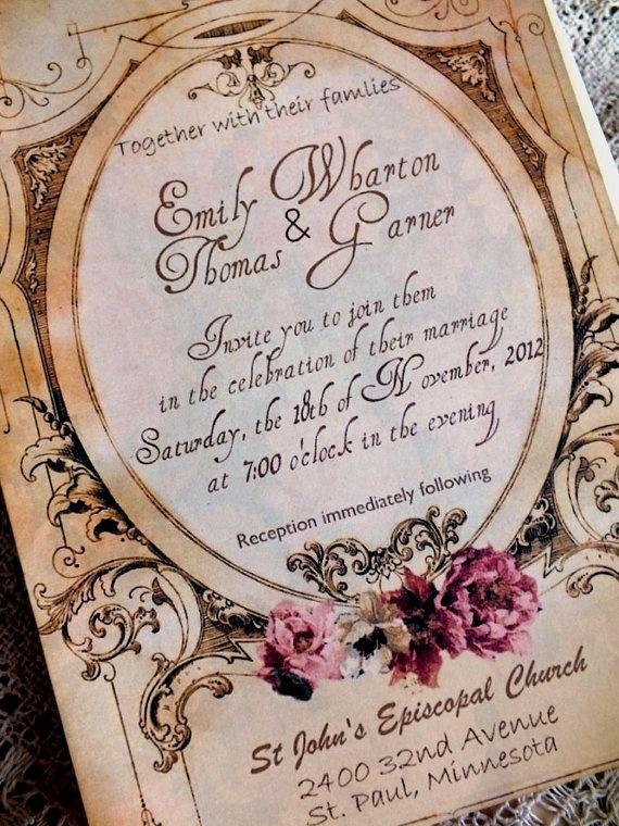 Vintage Wedding Invitation Suite Handmade Sample By Avintageobsession On
