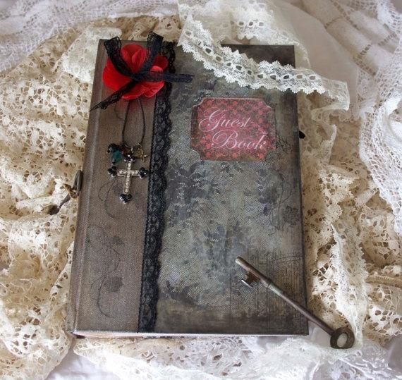 Gothic Wedding Guest Book Shabby Chic Vintage Style Custom Made Pages 100
