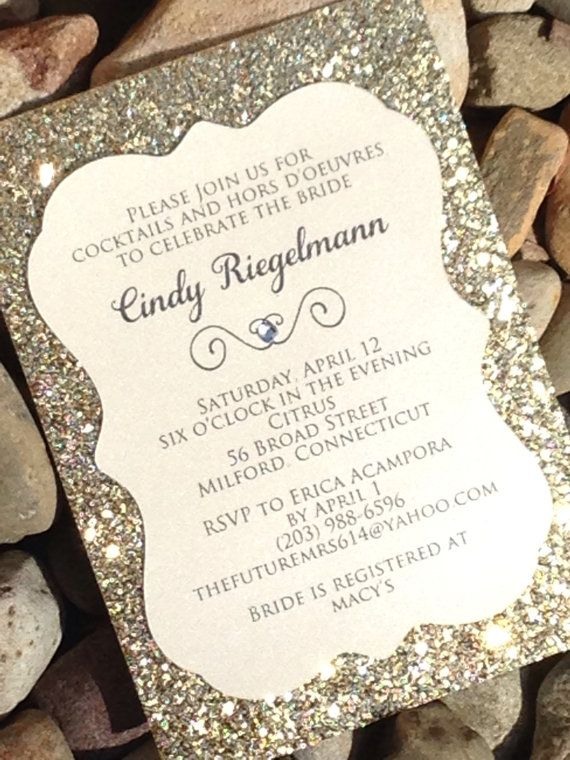 Bridal Shower Invitation 25 Glitter Invitations Engagement Announcement Wedding Gold Silver Cut Invite