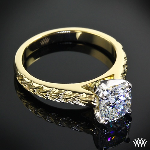 18k Yellow Gold With Platinum Head Engraved Cathedral Solitaire Engagement Ring