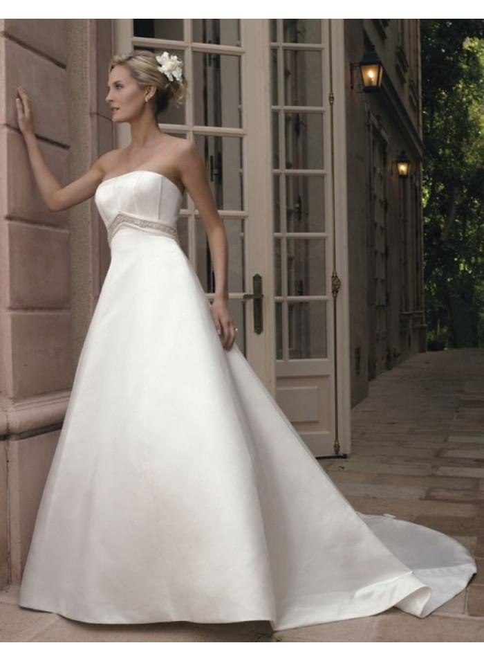 A Line Strapless Sashes Bow Cathedral Train Elegant Empire Taffeta Wedding Dresses We2617