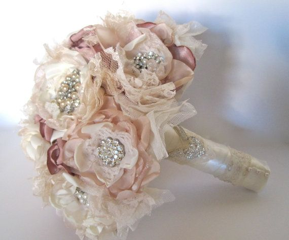 Wedding Bouquet Vintage Inspired Fabric Brooch In Ivory Champagne And Dusty Rose With Pearls Rhinestones Lace Custom Made