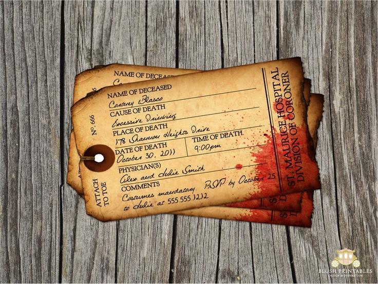 Geliebte Antique Toe Tag - Morgue - Halloween Party Invitation - INSTANT  HU68