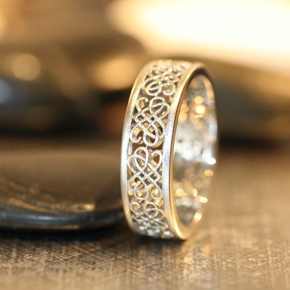 Celtic Wedding Ring 14k White Gold Unique Mens Band Recycled Knot Love Other Metals Available