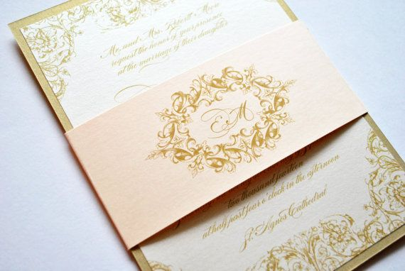 Gold Invitation Wedding Invitations Blush Champagne Pink Victorian Elegant Vintage