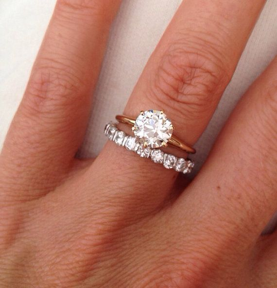Vintage Old Mine Cut 1 38 Carat Solitaire Diamond 14k Engagement Ring