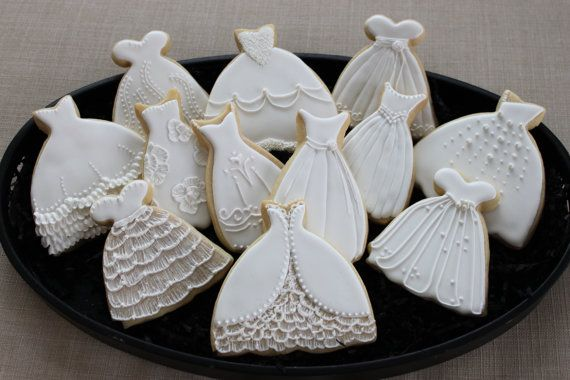 Wedding Dress Cookie Favors Sweet 16 Bridal Shower Prom Custom Princess Cookies Sugar Luncheon