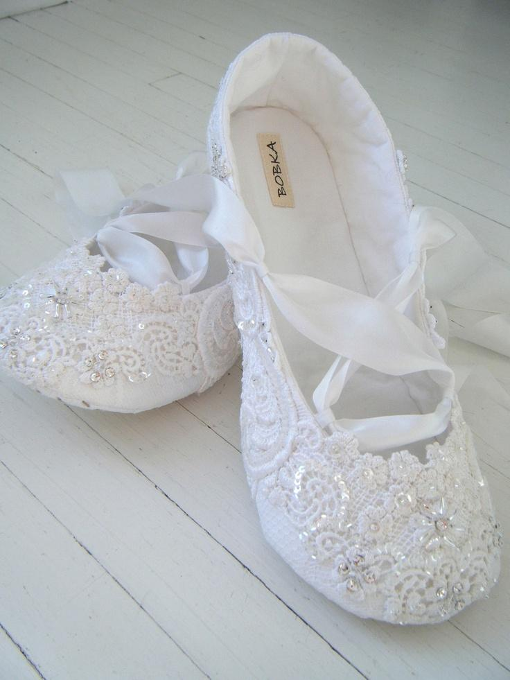 Bridal Shoes Flats Wedding Ballet White Crystal Lace Custom Made By Bobkababy