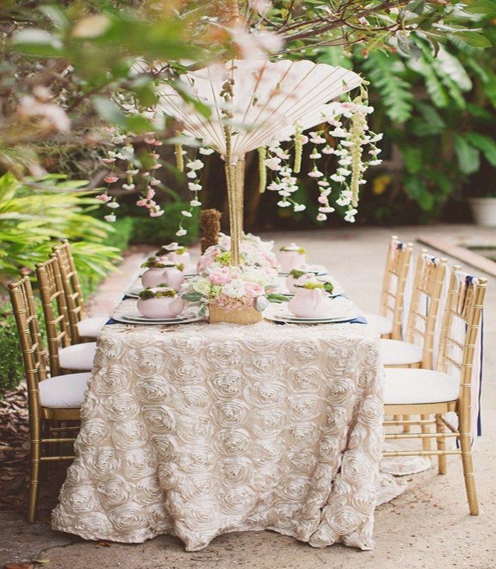 10 Rosette Satin Tablecloths 54