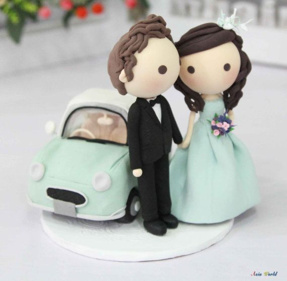 Wedding Cake Topper Clay In Tiffany And Nissan Figaro Miniature Ring Holder Doll Figurine
